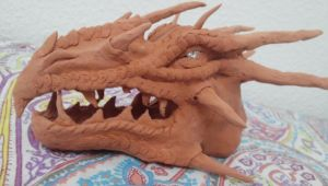 Dragon head (clay and tin foil) by serioussam2006
