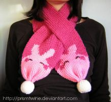 Pink bunny scarf by prismtwine