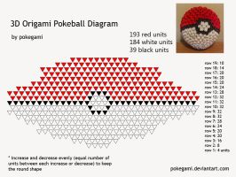 3D Origami Pokeball Diagram by pokegami
