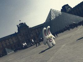 Outside the pyramid of Louvre by Cyberella74