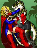Supergirl vs T Rex girl 02 -by Predaguy by THE-Darcsyde
