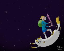 Adventure Time Fionna And Cake In The Night Sky by kazaret