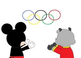 Mickey and Bert at the Olympic Games by hmcvirgo92
