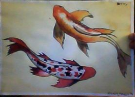 Koi fishes watercolor painting 1 by ulTrawaZer