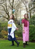 Yuna and Aerith by 93FangShadow