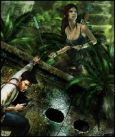 Lara Croft x Nathan Drake by ReD8ull