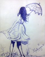umbrella girl-pen by Madhurupa