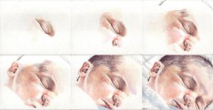 In progress scans of colored pencil drawing Clara, Newborn