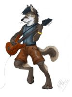 The Wolf and His Guitar by Emberspirit