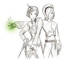 Elisabeth and Ash by bluekensou