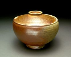 Wood Fired Lidded Bowl with Shino Liner by MBrownCeramics