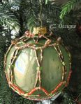 Christmas Ornament - Green with Orange by PurlyZig