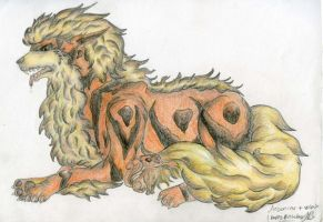Arcanine and Vulpix by Werebudgie
