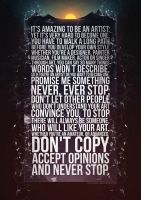 Never Stop poster by buba-kl