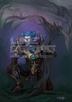 Male Night Elf Druid - Warcraft Commission by Bering