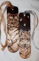 Sun Tiger Wolf Moon bookmarks by BumbleBeeFairy