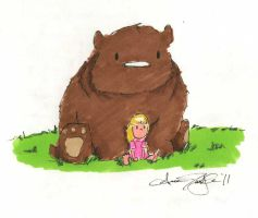 Bear and Girl sitting together by atnason