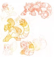 Volpan and Fakemon Sketches by silverava