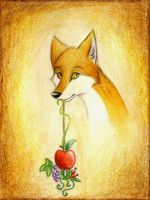 Composition with fox and apple by FoxInShadow