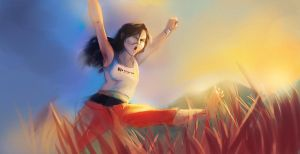 Chell Running Around by lord-phillock