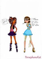 Clawdeen and Cleo- Before MH by PersephoneKat