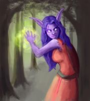 Night Elf in the Woods by ImperfectSoul