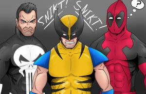 Punisher, Wolverine and Deadpool by LewisTillett