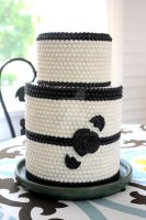 Navy Blue White Wedding Cake by theSugarmonger