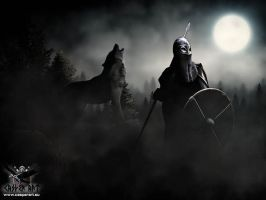 Viking wolf and a full moon by thecasperart