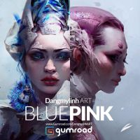 Painting tutorial: PINK and BLUE by DangMyLinh