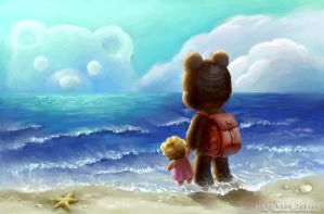 Small bear and the sea by SundogINC