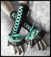 Cyan-ide Corset Arm Warmers by ZenAndCoffee
