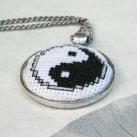 Yin Yang cross stitch embroidered pendant necklace by YANKA-arts-n-crafts
