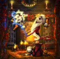 Santa Jack Skellington with Zero Dog by Sinphie