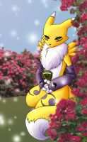 Renamon with Roses by Ajehy