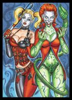 HARLEY AND JOKERIZED IVY SKETCH CARD COMMISSION by AHochrein2010