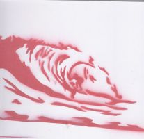 fun with stencils- red beach by Cara-C