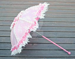 Pink and Ivory Lolita Parasol by dbvictoria