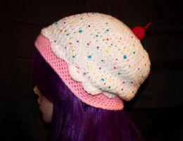 Strawberries and Cream Cupcake Slouchy by rainbowdreamfactory