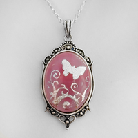 Pink Butterfly Glass Pendant by HoneyCatJewelry