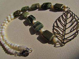 Silver Leaf and Green Jasper Beaded Necklace by SadiesAccessories