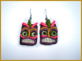 Tiki Mask Earrings by Christine-E