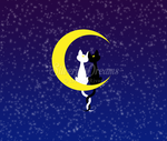 Cats in love on the moon - Luna and Artemis by SilveryLugia