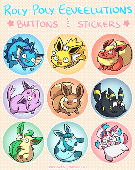 Roly-Poly Eeveelutions Buttons and Stickers by papricots