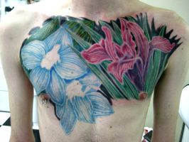 Chest flowers tattoo by micaeltattoo