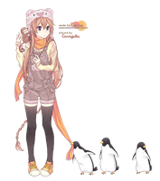Girl and Penguins render by purpleMilkshake08