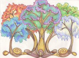 Elemental Trees by Spiralpathdesigns