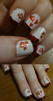 Red hearts by kelles-nails