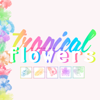 Brushes Tropical Flowers by Brenlala
