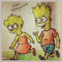 Lisa and bart by HClairAllen